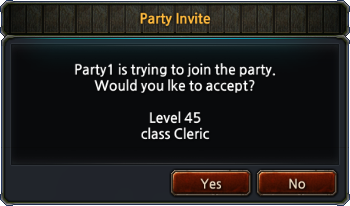 Party Request Popup